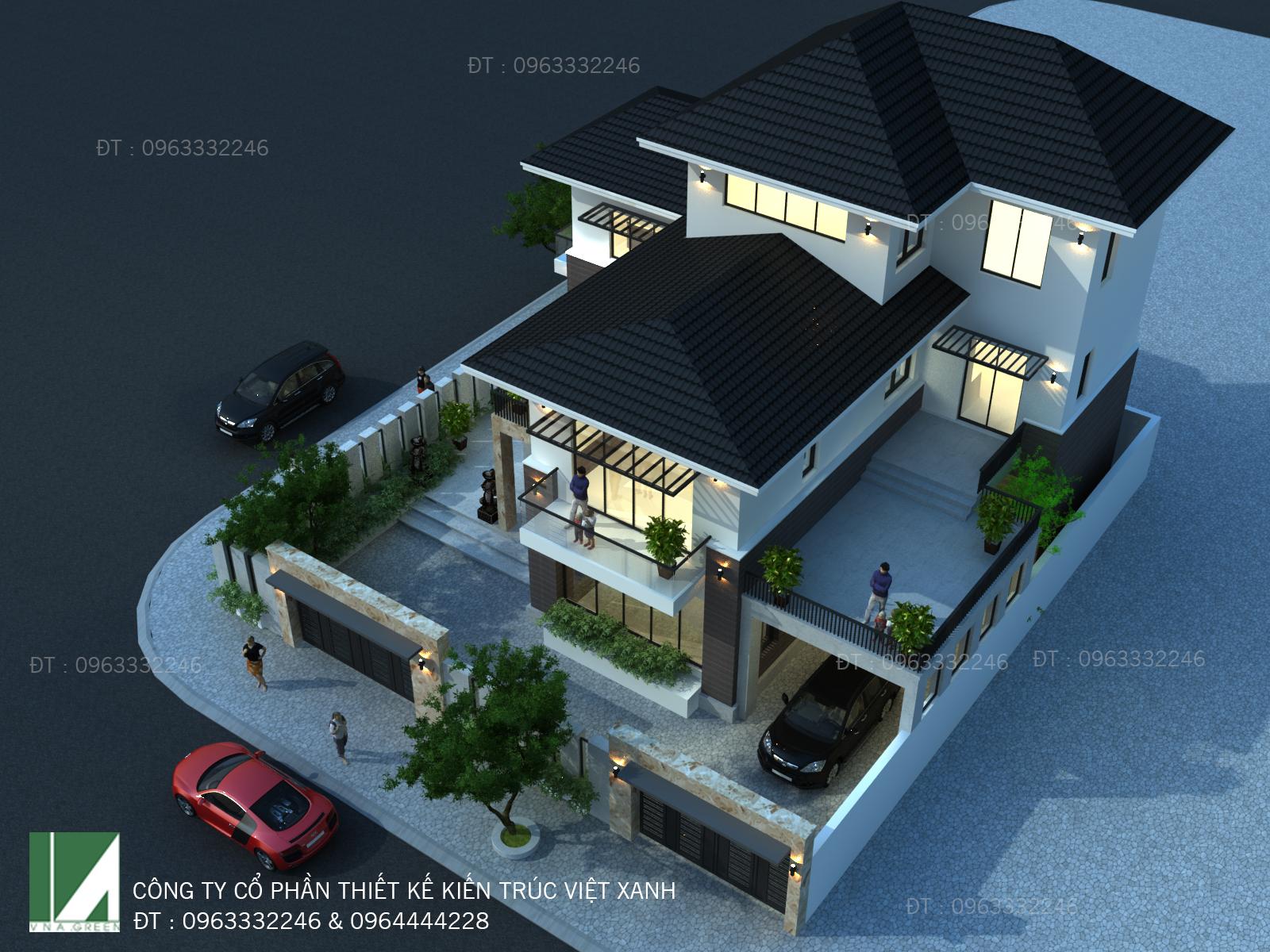 Mẫu thiết kế biệt thự 3 tầng hiện đại - kiến trúc việt xanh