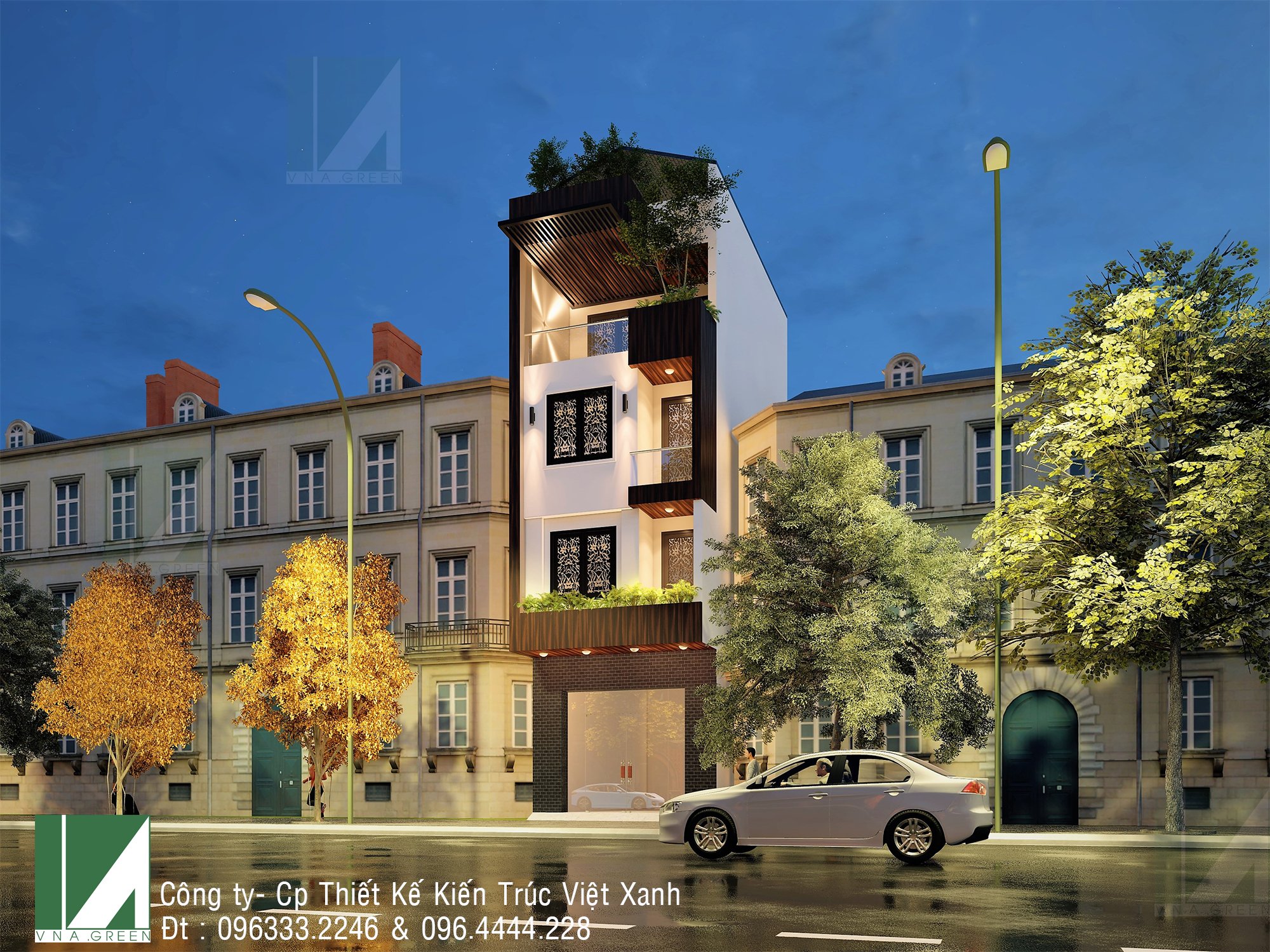 mẫu thiết kế nhà phố 4 tầng mặt tiền 5m