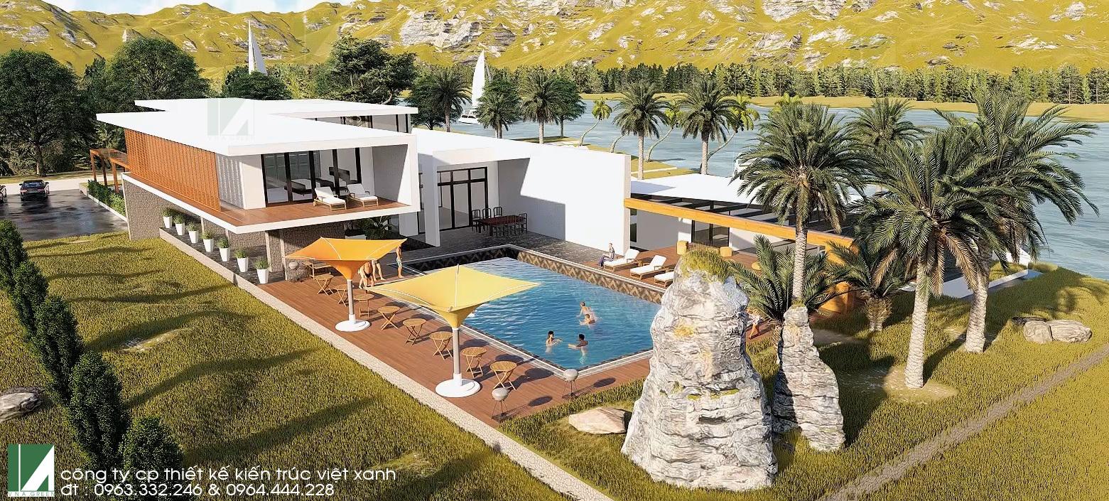 Mẫu thiết kế biệt thự 2 tầng hiện đại nghỉ dưỡng - kiến trúc việt xanh