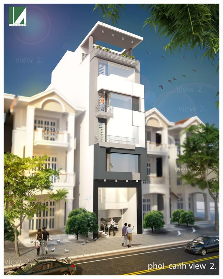 mẫu thiết kế nhà phố 5 tầng hiện đại - kiến trúc việt xanh