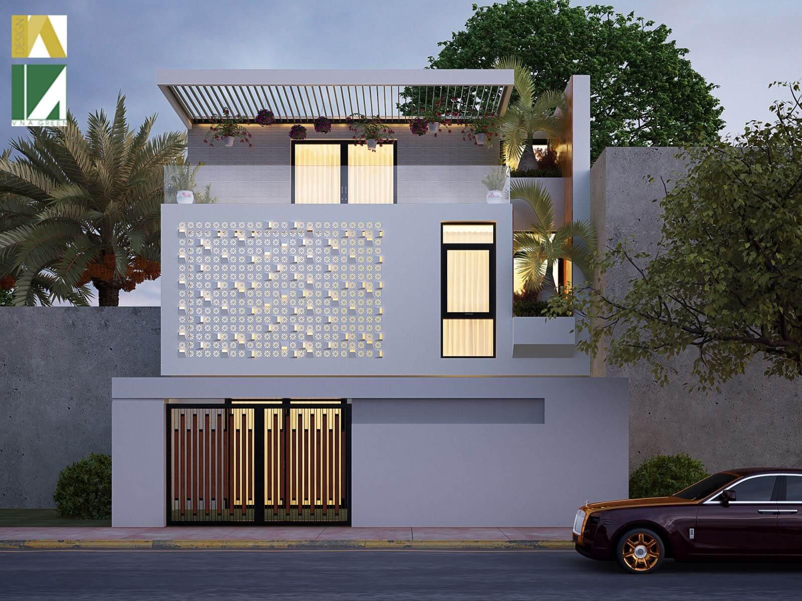 Mẫu thiết kế nhà phố 2 tầng hiện địa - Kiến Trúc Việt Xanh