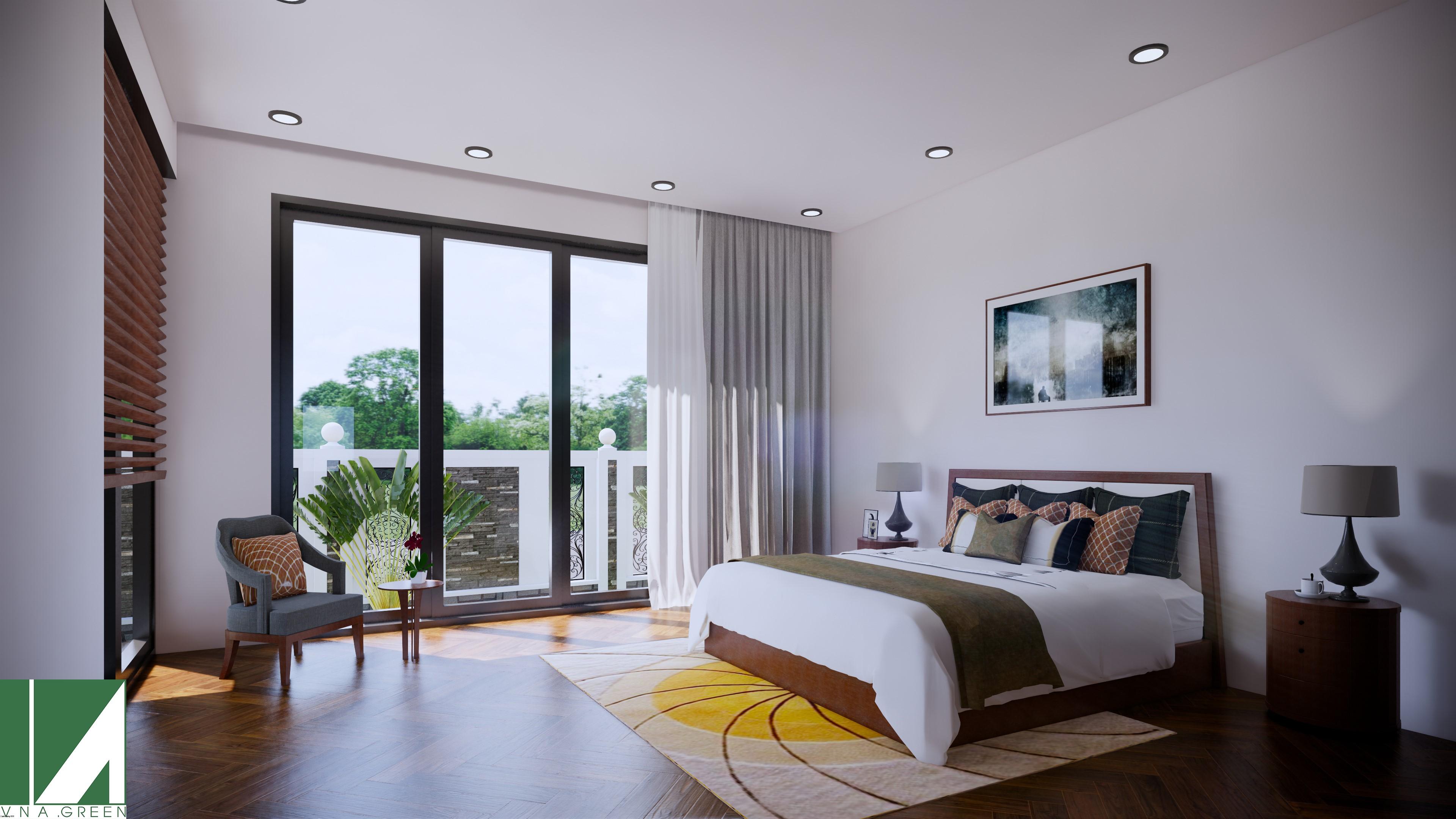 Hình ảnh thiết kế Nội thất phòng ngủ Biệt thự 2 tầng- Kiến Trúc Việt Xanh