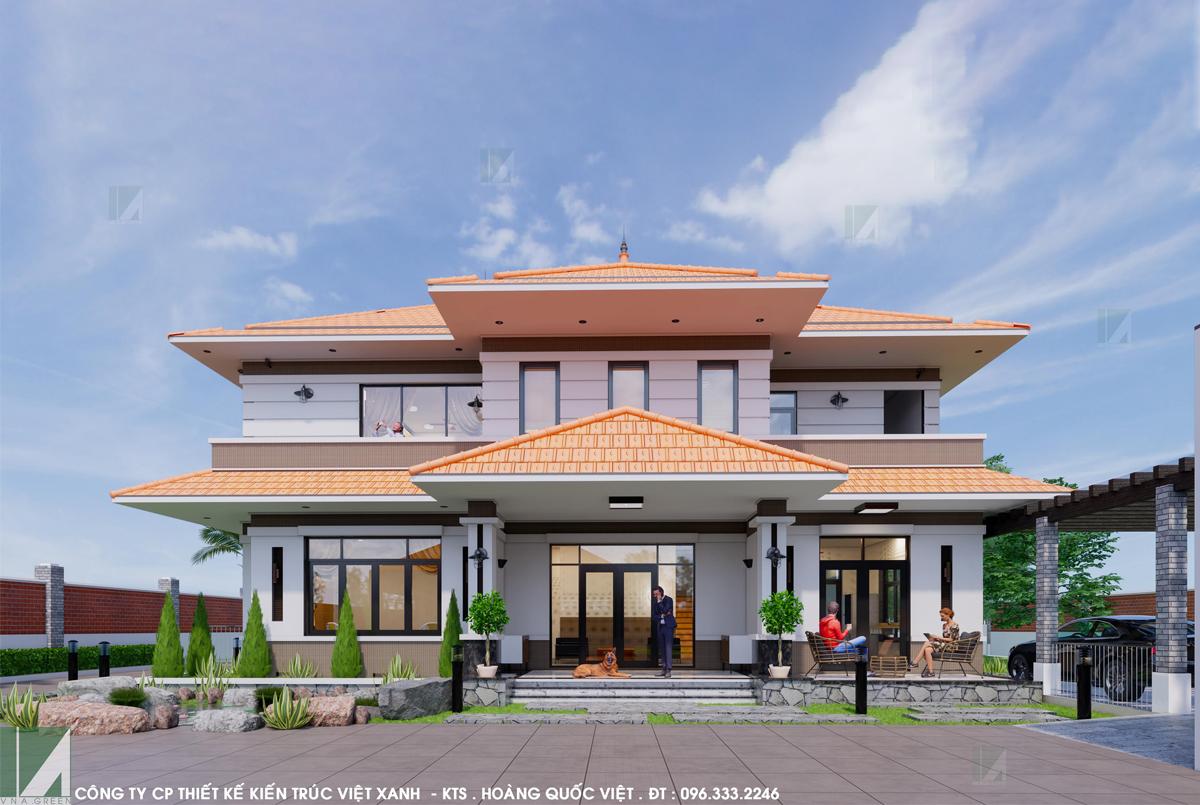 mẫu biệt thự 2 tầng mái ngói sân vườn 150 m2 bthd2-06