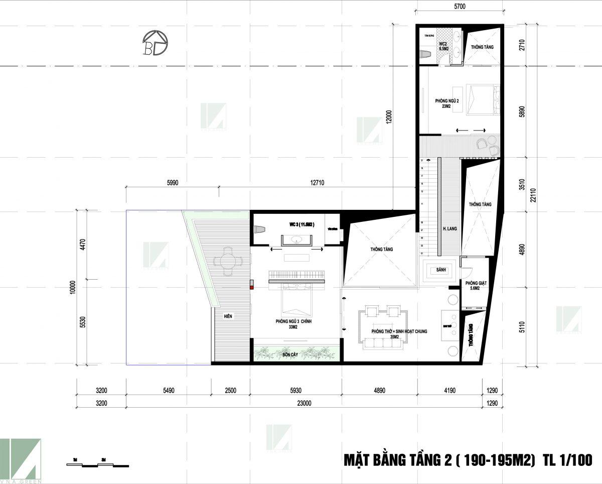 Mặt Bằng Mẫu Biệt Thự Hiện Đại Sân Vườn BTHD2-05