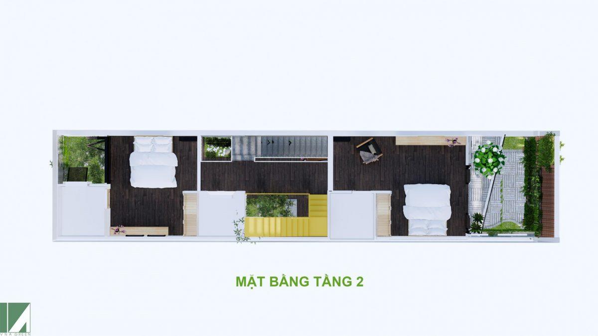 mặt bằng thiết kế nhà ống 3 tầng 90 m2 hướng tây nphd3-02
