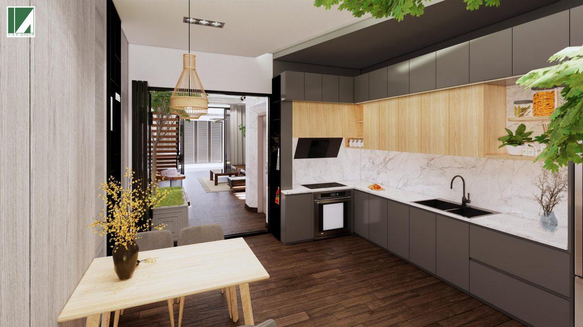 phòng bếp phòng khách mẫu nhà ống 3 tầng 90 m2 nphd3-03