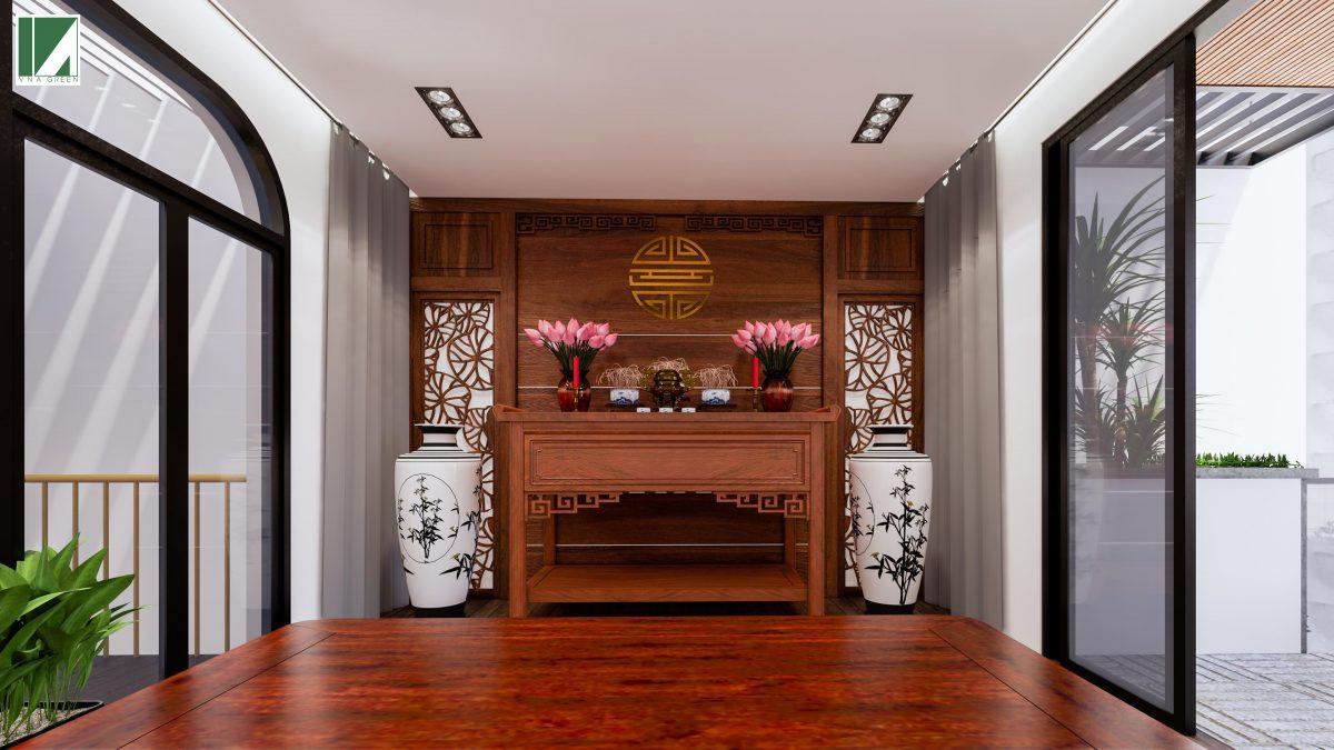 phòng thờ phòng ngủ phòng bếp phòng khách mẫu nhà ống 3 tầng 90 m2 nphd3-03