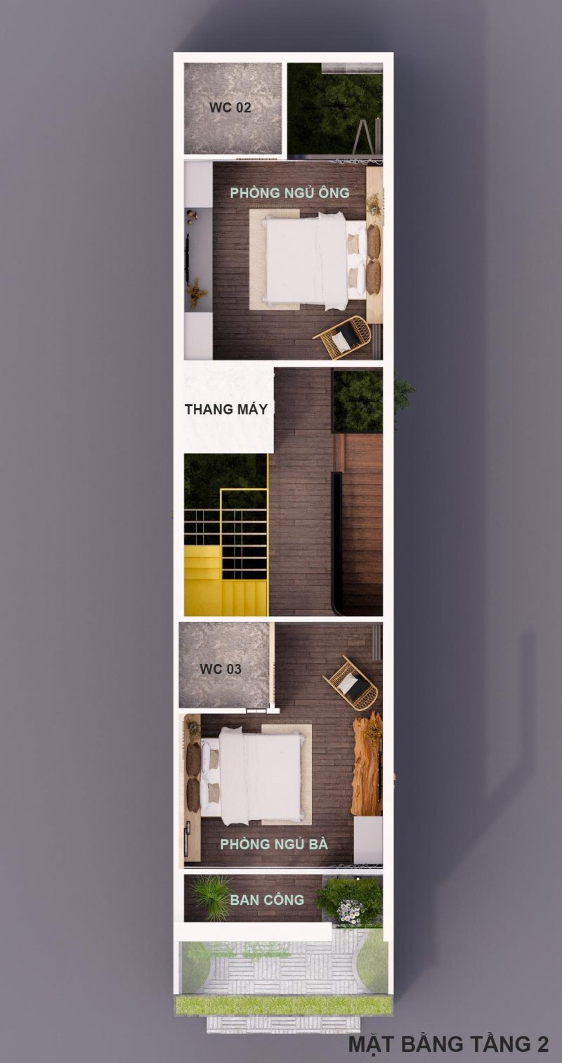 mặt cắt đứng mẫu nhà ống 3 tầng 90 m2 nphd3-03