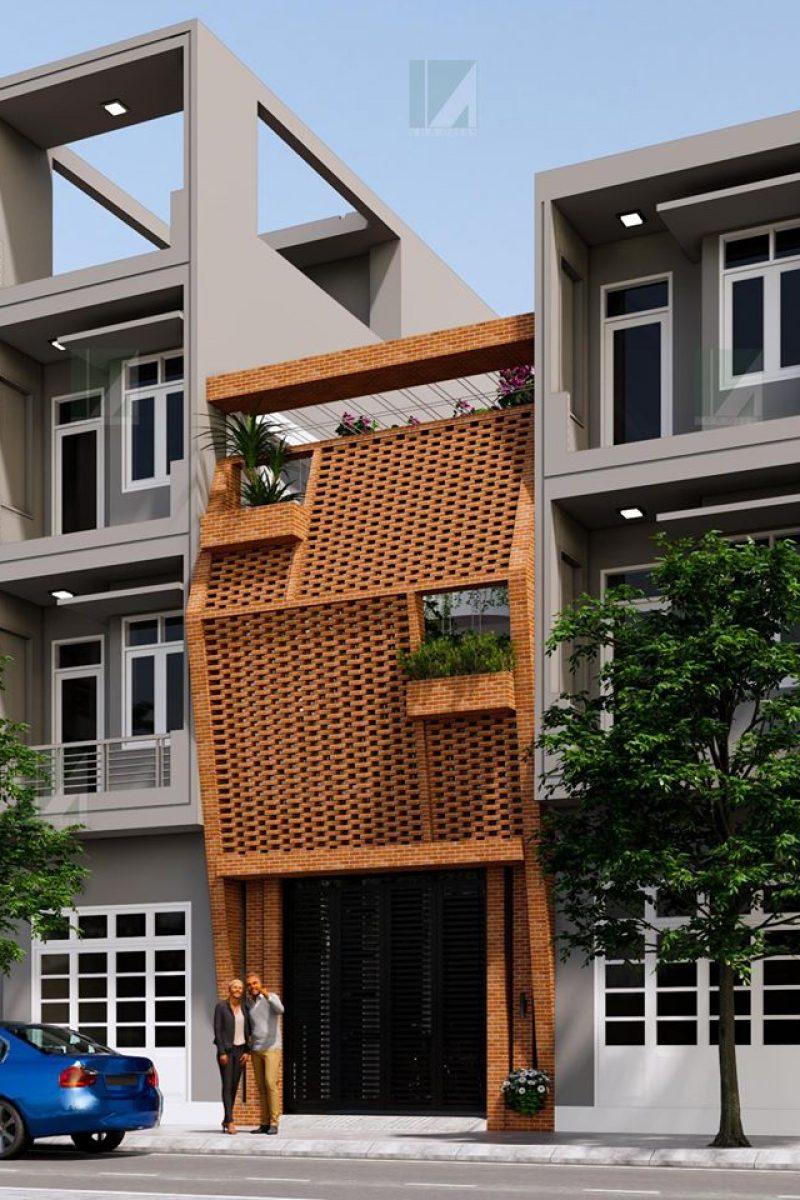 mẫu thiết kế nhà ống 3 tầng 90 m2 hướng tây